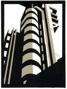 Lloyd building- By Paul Catherall -  Linocut print