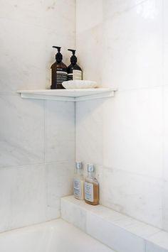 New bathroom storage corner shower shelves Ideas Bathroom Corner Shelf, Bathroom Storage, Corner Shelves, In Shower Storage, Kitchen Storage, Bathroom Organization, Corner Desk, Master Bathroom Shower, Bathroom Showers