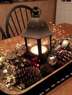dough bowl, pine cone, lantern centerpiece -Vintage Christmas Decorating Ideas | Christmas Celebrations