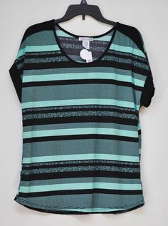 NWT WOMEN BLOUSE CAROL ROSE Casual Striped Short Sleeve Black Green size L #CAROLROSE #KnitTop #Casual