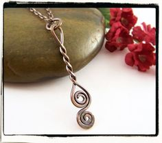Simple and Elegant! Twisted Spiral Antique Copper Pendant