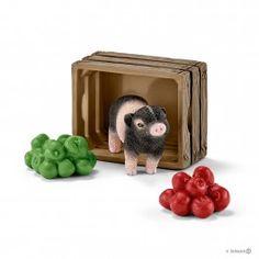 Mini-Schwein mit Äpfeln