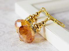 Orange Crystal Earrings Orange Coral Earrings by MsBsDesigns