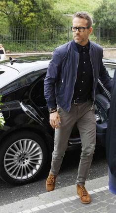 Ryan Reynolds Smart Casual Outfit bomber jacket chinos