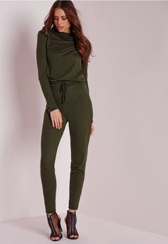 Long Sleeve Ribbed Drawstring Jumpsuit Khaki - Jumpsuits - Missguided