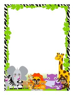 Jungle creatures are set against a zebra-striped background on this border. Free to download and print.