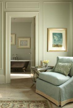 Bedroom sitting area: love the ice blue chair w/trim; creamy walls; bleached wood floors