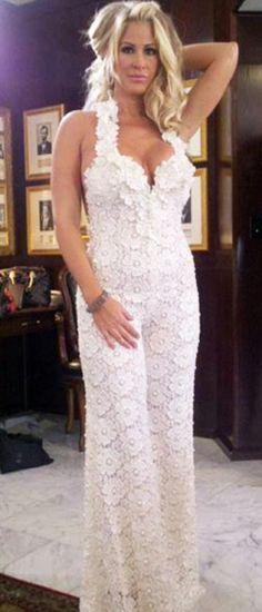 Kim Zolciak wear a Pnina Tornai jumpsuit on her wedding day.