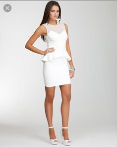This all white is so dope! Dress is by Bebe