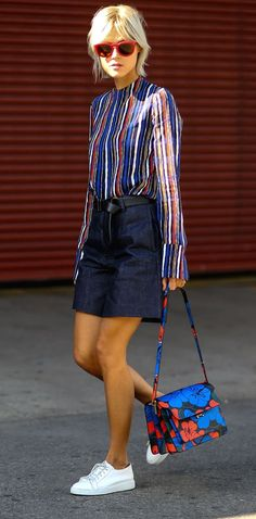 Linda Tol very colorful with her Marni bag. New York Fashion Week, Spring 2016.: