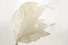 """Leuchtobjekt 1"", 2012 handgeschöpftes Papier, Naturmaterialien, LED-Beleuchtung, 73 x 10 x 80 cm, 480,-"