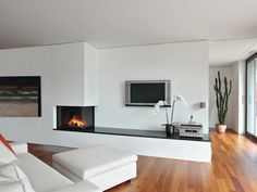House, fireplace wall, modern fireplace, fireplace design, home living room Modern Fireplace, Fireplace Wall, Fireplace Design, Home Living Room, Living Spaces, Family Room, Home Fashion, New Homes, Interior Design