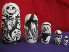 Nightmare before Christmas  - Great Art Set of 5 RUSSIAN NESTING DOLLS.  Hand Crafted  on wood  in Russia. Shipped from Usa by joyfool on Etsy https://www.etsy.com/uk/listing/221463058/nightmare-before-christmas-great-art-set