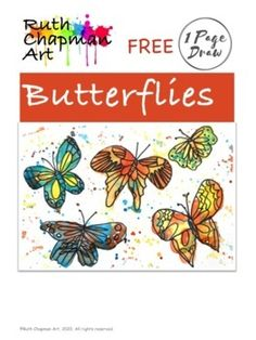 This 1 Page Draw shows kids how to draw six butterflies, breaking down the drawing into steps. These work well with a variety of art supplies, including markers, colored pencils, watercolors, etc. Whatever you have! The butterfly handout works well as an at-home activity, a one-class art project, an... Drawing Lessons For Kids, Art Lessons For Kids, Art Activities For Kids, Art Lessons Elementary, Art For Kids, Drawing Ideas, Butterfly Painting, Butterfly Watercolor, Butterfly Art