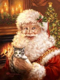 Christmas cats and New Year's cats painting. - Dona Gelsinger