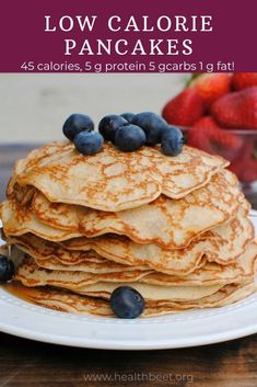 Low Calorie Pancakes Recipe calories with 5 g protein!) -Low Calorie Pancakes Recipe calories with 5 g protein!) -Low Calorie Pancakes Recipe calories with 5 g prot. Pancakes Low Calorie, Low Carb Low Calorie, Pancake Calories, Low Calorie Desserts, No Calorie Foods, Low Calorie Recipes, Low Calorie Waffle Recipe, Healthy Low Calorie Breakfast, Low Calorie Baking