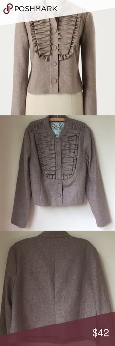 Anthropologie Tabitha jacket ruffle front Extremely cite and unique jacket from Anthropologie! In perfect used condition. Size 12. 49% wool, 35% viscose, 16% Polyester. Offers welcome. Anthropologie Jackets & Coats