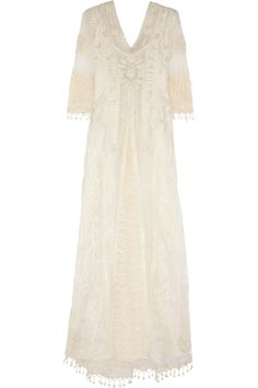 Kate Moss for Topshop | Embroidered tulle and crocheted lace maxi dress | NET-A-PORTER.COM