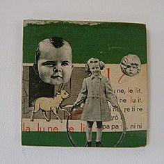 Original Collage 'Little Lambs' Linda Dacey 2011.
