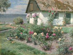 Peder Mork Mønsted  (Danish, born 1859 - 1941) Blomstrender Roser ved et Gamelt Hauhus, Stroop, 1934