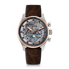 Discover the Chronomaster El Primero Grande Date Full Open, a self-winding skeleton-worked chronograph introduced by Zenith Watches at Baselworld 2017 Mens Watches Leather, Leather Men, Black Leather, Cool Watches, Watches For Men, Men's Watches, Wrist Watches, Dream Watches, Grey Watch