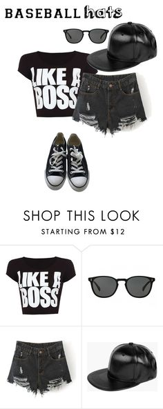 """Untitled #397"" by hellokitty-780 on Polyvore featuring WearAll, Oliver Peoples, Boohoo, Converse, baseballcap and baseballhats"