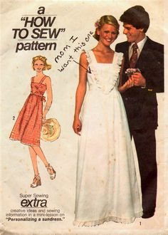 Vintage 1970s Sewing Pattern Simplicity 7869  Misses' SunDress  Size 14 Bust 36 Uncut Complete by GoofingOffSewing on Etsy