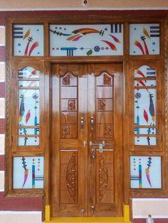 House Main Door Design, Wooden Front Door Design, Room Door Design, Wooden Front Doors, Wood Shelf Brackets, Wood Shelves, Etched Glass Door, Room Doors, Glass Design