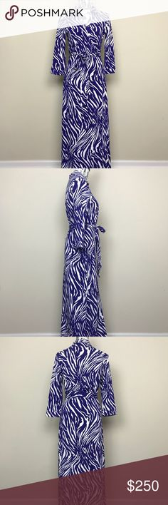 "Diane Von Furstenburg DVF Abigail Maxi Wrap Dress Diane Von Furstenburg DVF Abigail Maxi Wrap Dress in Blue White Tiger Print  Classic wrap dress with self-tie belt. Unlined. Falls to floor. 3/4 sleeve. Collared. Viscose 93% viscose, 7% spandex. Length 60"", bust 18"". Diane Von Furstenberg Dresses Maxi"