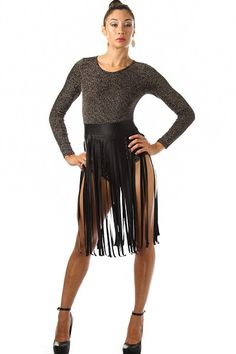 Metallic Long Sleeve Faux Leather Fringe Bodysuit Availability: In stock. $44.95 - See more at: http://www.pinkclubwear.com/metallic-long-sleeve-faux-leather-fringe-bodysuit.html#sthash.L3EJY14M.dpuf