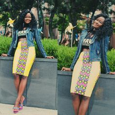 Smile....prints and denim everyday. Style it up #africanprints #newankara #pencilskirts #streetfashion
