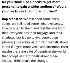 Rap Monster do you think K-pop needs to get more personal to gain a wider audience? Would you like to see that more in future? ❤ (Can Conscious K-Pop Cross Over? BTS & BigHit Entertainment CEO 'Hitman' Bang on Taking America Interview: billboard.com/articles/columns/k-town/7752412/bts-bang-hitman-conscious-k-pop-cross-over-interview) #BTS #방탄소년단