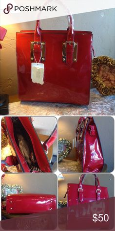 Red Patent Handbag This faux patent leather handbag is gorgeous! Features: adjustable hand straps, includes shoulder strap, fully lined with two inside slip pockets, one exterior zip pocket and gold tone hardware. NOTE: Due to past experience with handbag customers, I now video final inspection and packing of each bag rather than discontinuing sales. In three years of business I have NEVER had a bag returned at my local business (This closet does not trade or use PayPal ) Bags Satchels