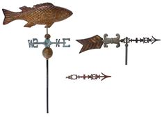 Lot 171: Copper Fish Weathervane and Parts Assortment; Including a copper fish with directional weathervane and two arrow weathervane parts