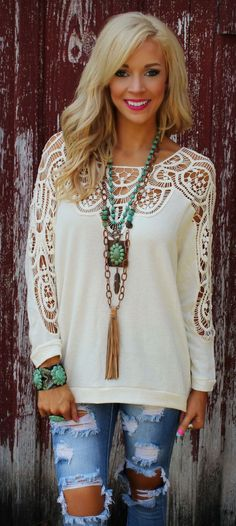 Bless Your Heart Ivory Crochet Top - The Lace Cactus
