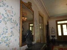 Haunted mirror at Rosedown Plantation, St. Francisville, Louisiana. Each time the mirror's been replaced in the antique frame (three times, I believe) scratch marks returned.