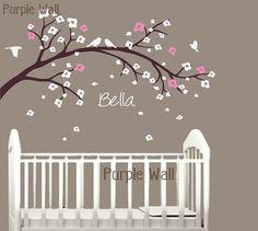 Cherry Blossom Nursery Tree Decal  Kids Branch Birds by PurpleWall, $57.00