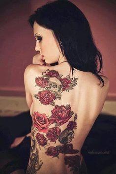 Roses and skulls tattoo