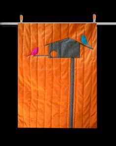 modern bird and birdhouse quilt, orange!