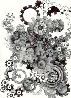 Gear shapes playing with a gear shape Steampunk Drawing, Steampunk Design, Tachisme, Doodle Drawings, Doodle Art, Gear Drawing, Graffiti, Oeuvre D'art, Clipart