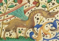 A detail from a French illuminated manuscript, Saint Avia, about 1480-90, depicting a fantastic creature.