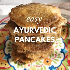 Easy recipe for ayurvedic pancakes. With only 3 ingredients and a couple of spices, these ayurvedic pancakes are super quick to make! Ayurvedic Tea, Ayurvedic Healing, Ayurvedic Recipes, Savoury Cake, Clean Eating Snacks, Healthy Eating, Healthy Food, Dessert, Indian Food Recipes