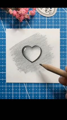 3d Art Drawing, Art Drawings Sketches Simple, Art Drawings Beautiful, Pencil Art Drawings, Easy Drawings, Cute Heart Drawings, Ideas For Drawing, Creative Pencil Drawings, Nature Sketches Pencil
