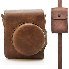 Amazon.com : HelloHelio Retro Classic Leatherette Instax Camera Vintage Compact Case For Fujifilm Instax Mini 90 Neo Classic Instant Film Camera with Pocket Strap (Brown Case with Strap) : Camera & Photo