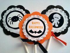 Halloween Cupcake Toppers by Threelilmonkeys84 on Etsy, $9.50