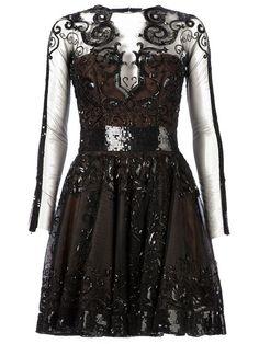 Zuhair Murad Sequin Embellished Sheer Panel Dress - L'eclaireur - Farfetch.com