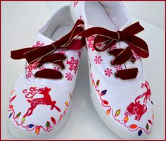 Christmas Shoes Christmas Sneakers Painted Canvas by PricklyPaw Kids Christmas Outfits, Christmas Shoes, Holiday Shoes, Holiday Outfits, Christmas Ideas, Christmas Crafts, Christmas Clothing, Holiday Clothes, Holiday Ideas