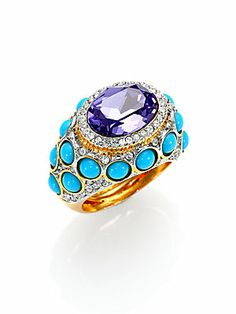 Kenneth Jay Lane Cabochon & Faceted Cluster Cocktail Ring