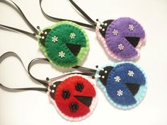 Ladybug ornament, Set of 4 felt  ornaments
