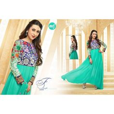 KARISHMA KAPOOR BOLLYWOOD ANARKALI GORGETTE SUITS. EMBROIDERY WORK Size: FREE SIZE Material Used: GORGETTE Colors: SEA GREEN